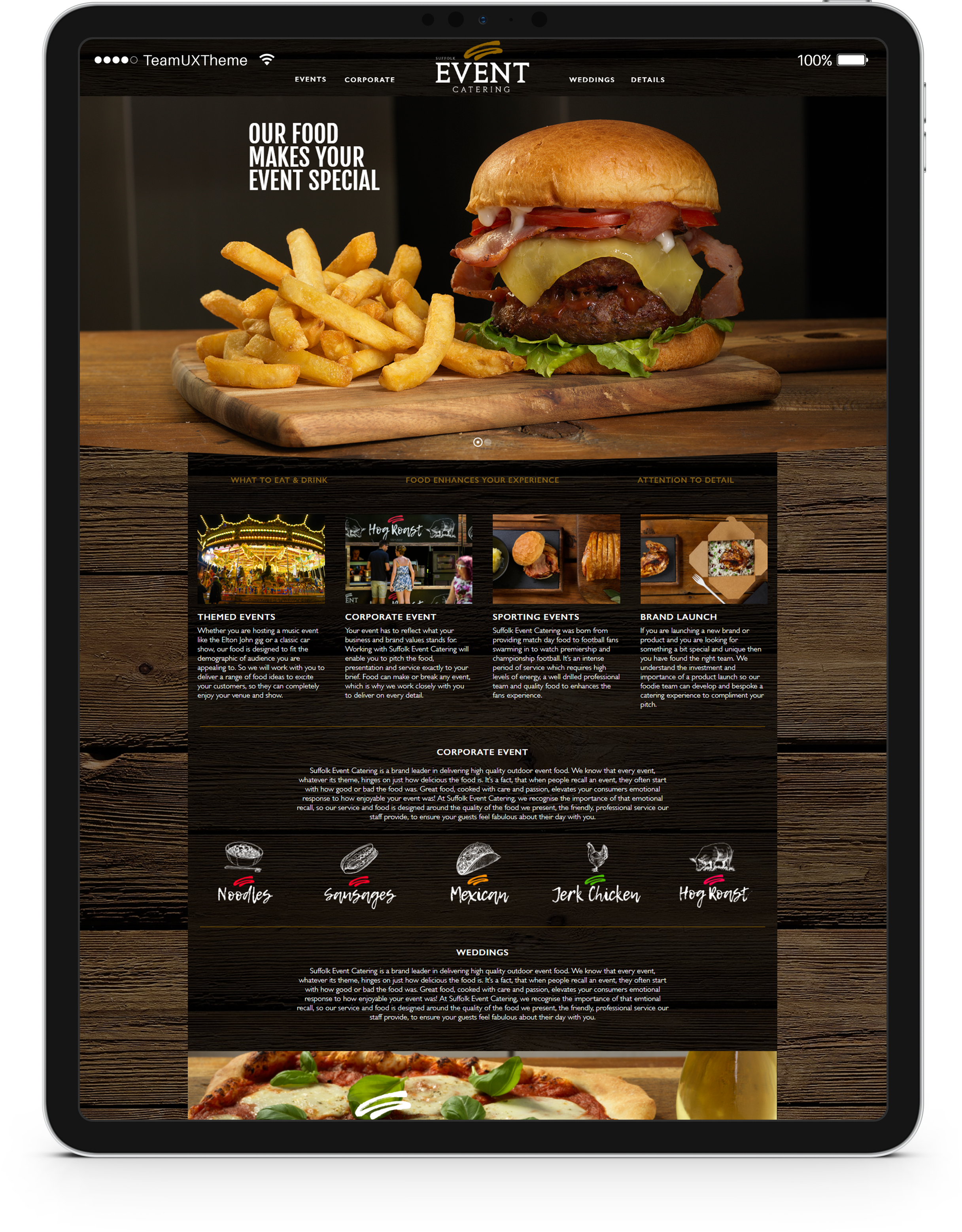 Suffolk Event Catering Website Design on an iPad