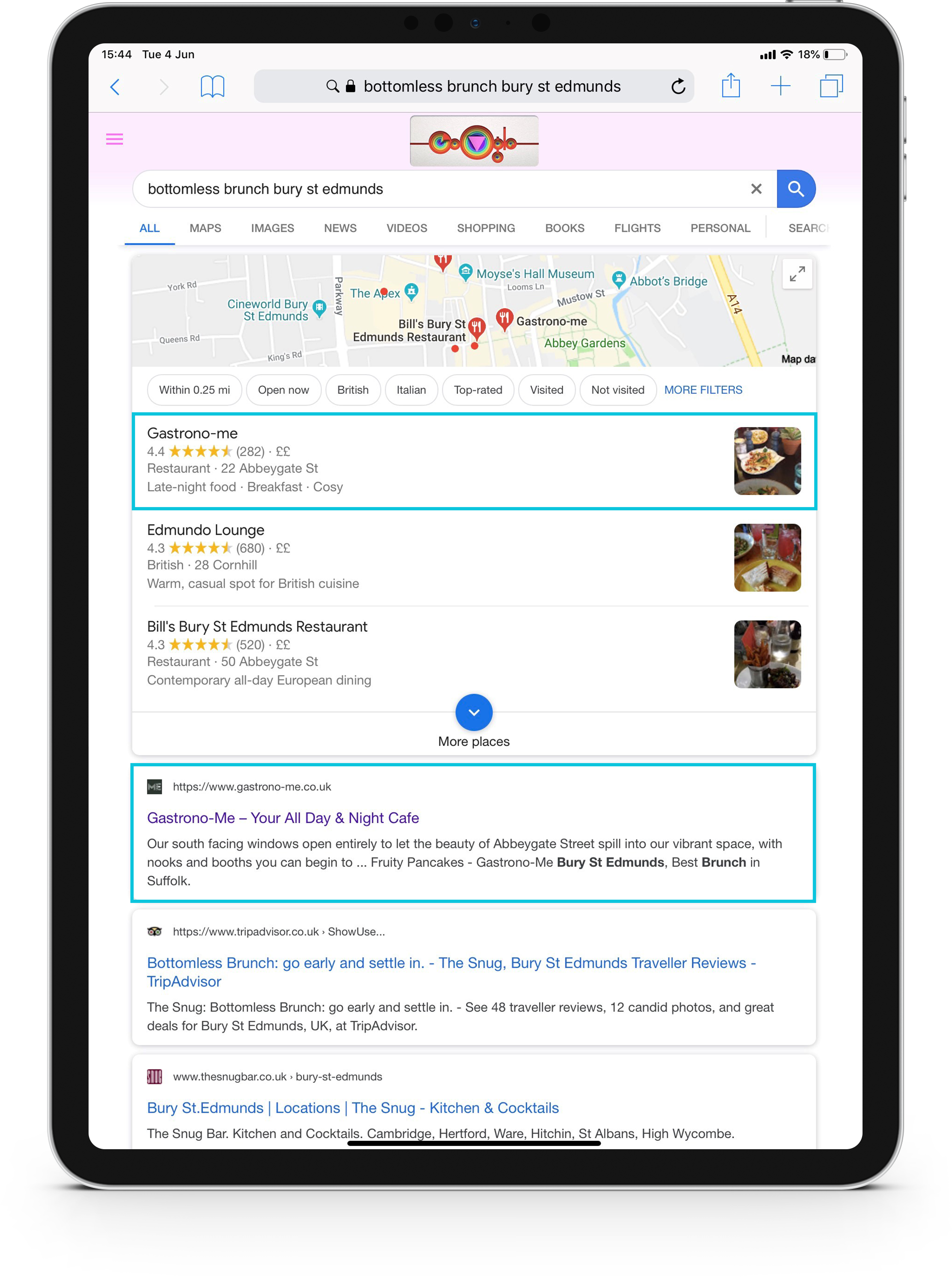 SEO High Ranking View on an iPad Pro